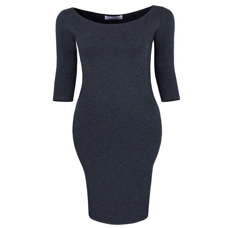 Autumn Winter Blue Female Mini Dress Women Casual Slim Dress Straight  Solid Color Three Quarter O-neck Above Knee Dresses