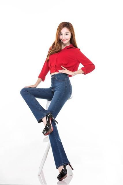 Бесплатная доставка новая акция женские джинсы женщин Средний высокая талия бизнес ...