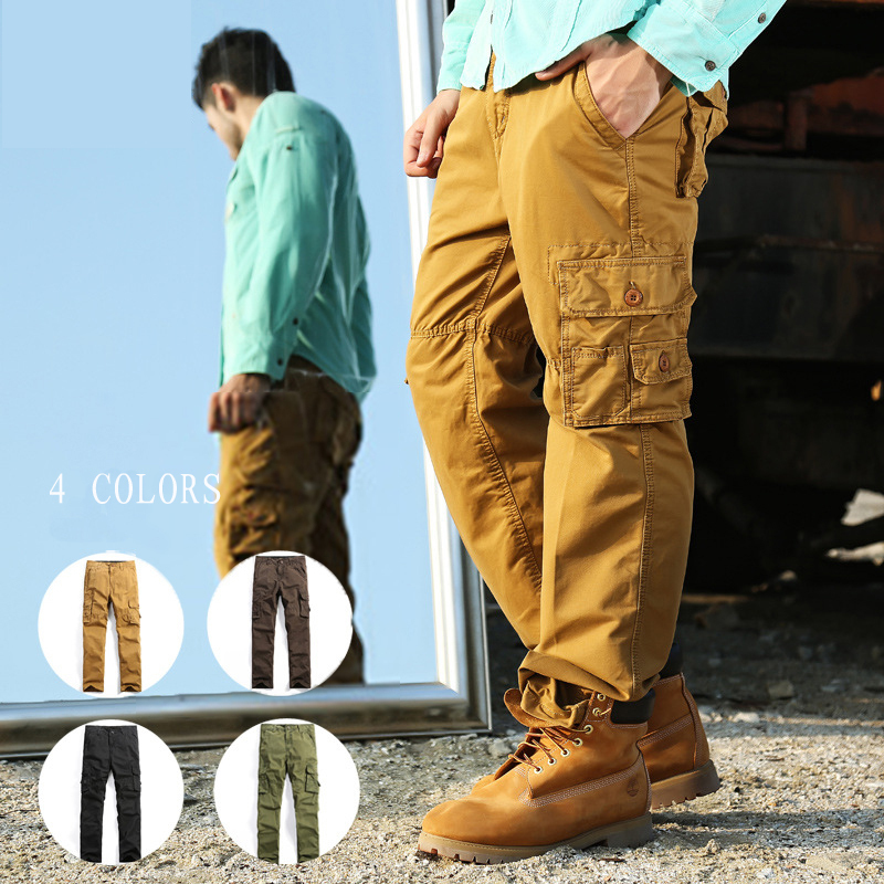 2015 Newest Men's Cargo PANTS Military Army 100% Cotton Soil Yellow/Army Green/Coffee/Black Plus Size 29-40(China (Mainland))