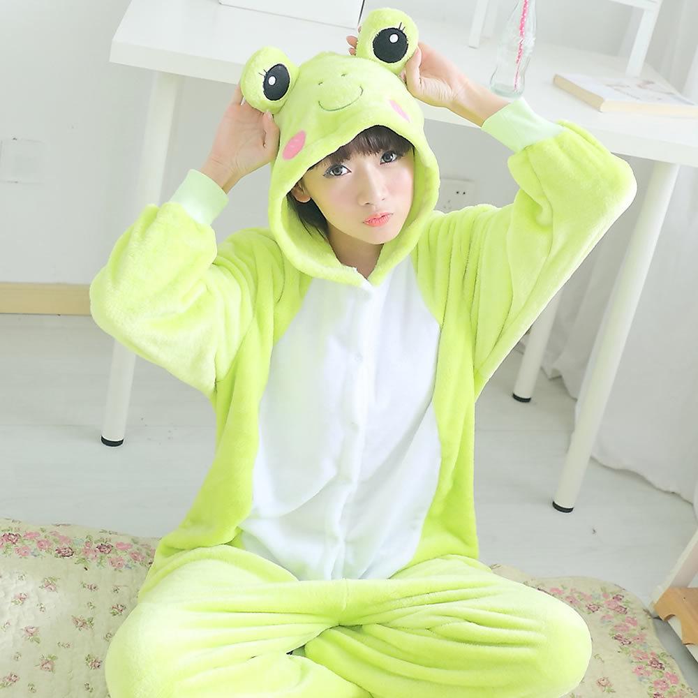 Women Pyjama Frog Flannel Animal Pajamas Onesies  Unisex Hooded Couples Family Pajama Set Одежда и ак�е��уары<br><br><br>Aliexpress