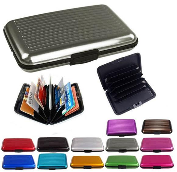 Waterproof Business ID Credit Card Wallet Holder Aluminum Metal Pocket Case Red(China (Mainland))