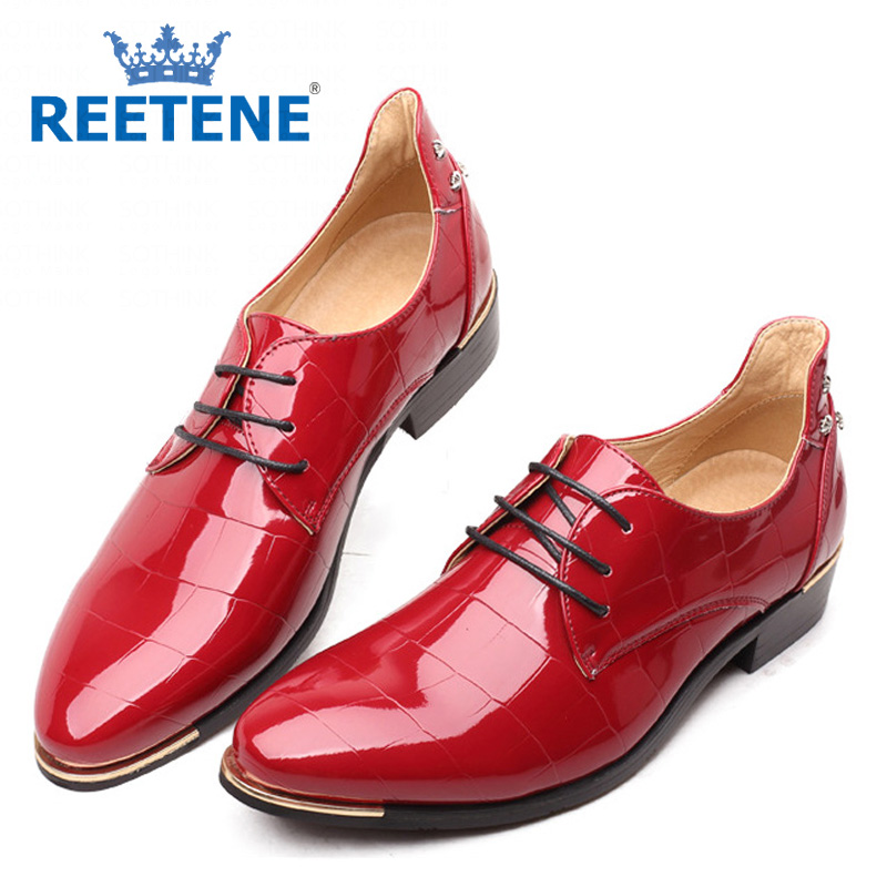 Rivets Flats Shoes Men Dress Fashion PU Leather Casual 2016 New Brand Mens Zapatos De Vestir - REETENE store