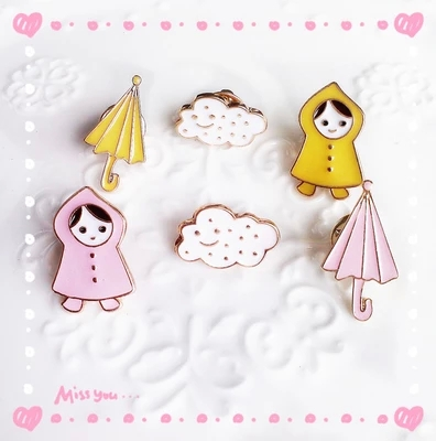 2016 hot gift Jewelry Fashion sweety Designer Enamel Cat/cloud/umbrella/girl Costume Brooch Pins For Women alfileres broches(China (Mainland))
