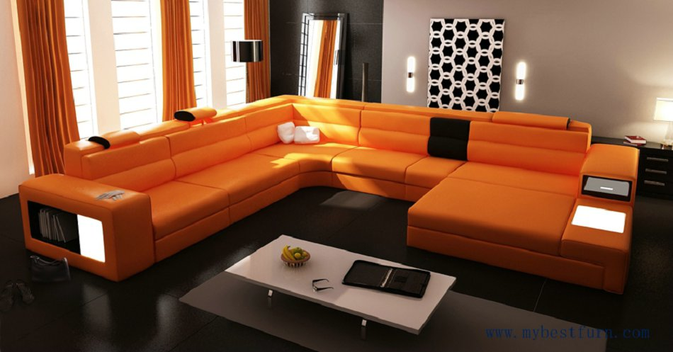 Hot Sale Modern Orange Sofa Set Large Size U shaped Villa couches Real  leather sofa with cabinet bookself home furniture sofas. Online Get Cheap Sale Corner Sofas  Aliexpress com   Alibaba Group