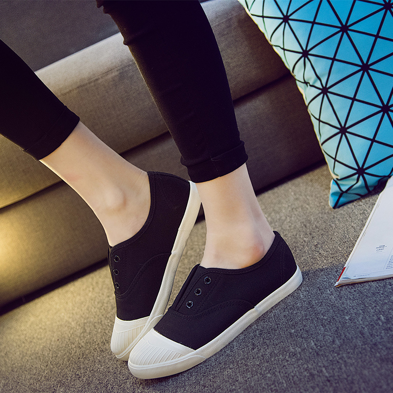 Free Shipping Women Fashion Canvas Shoes Canvas Flats Black Casual Shoes White Outdoor Slip-on Shoes Size 35~39<br><br>Aliexpress