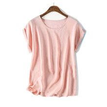Mulheres de Seda Real T Camisa de manga Curta Doce Cor chiffon camisa solta 100% seda Natural Top Básico Plus Size 2018 navio livre(China)