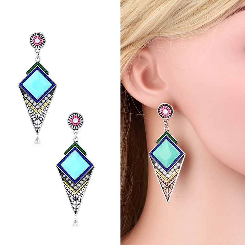 Long Ethnic Style Vintage Bohemian Colorful Created Gemstone Drop Dangle Earrings Jewelry Brincos For Women Girls(China (Mainland))