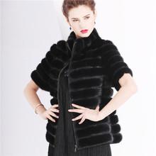 Women Natural Real Mink Fur Winter Jacket Women's Top Fashion Black Genuine  Mink Coat 100(China (Mainland))