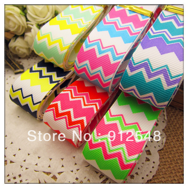 "New Spring ribbon 1""(25mm) Wholesale Print wave line Grosgrain Ribbon DIY headgear ribbon 10 yards/roll undee,6 color mix,blw007"