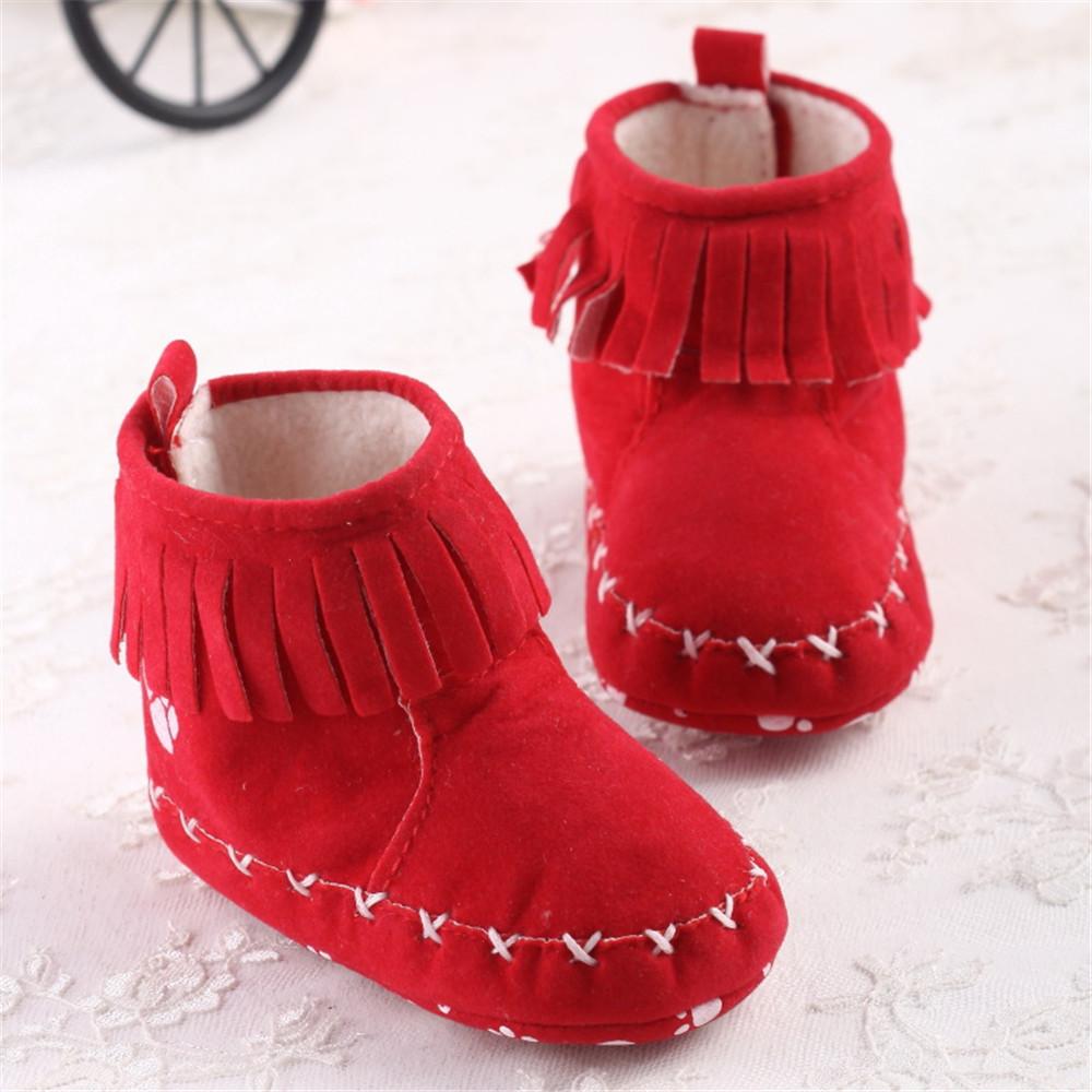 wholesale Soft Bottom Tassel Baby Girls Princess Shoes Warm Winter Baby Newborn Toddler Boots Kids Bebe Footwear 11-13cm(China (Mainland))