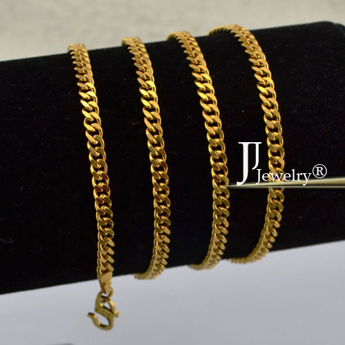 New Fashion Free Shipping Men Women Jewelry 3 mm 18 K Yellow Gold Filled Necklace Curb Link Chain Gold Jewellery JJYN52(China (Mainland))