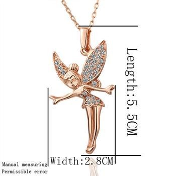 N011 Trendy Fairy 18K Gold Plated Pendant Necklace, Rose Gold, Health Jewelry, Nickel Free, Rhinestone