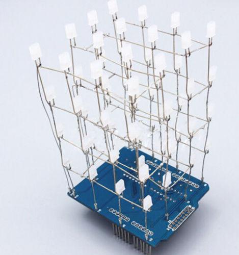 4X4X4 3D Light Cube Kit Blue Shield LED Precise DIY Kit(China (Mainland))