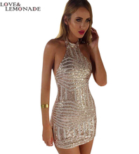 NEW Geometric Gold Sequins. Sexy Halter Dress. Party Dress TB 8182(China (Mainland))