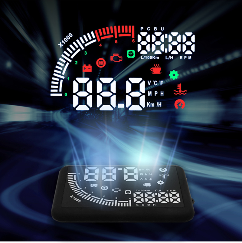 EM05 5.5inch GPS Speed HUD head-up display car alarm monitor / fuel / water temperature automotive electronics 12V DI0781<br><br>Aliexpress