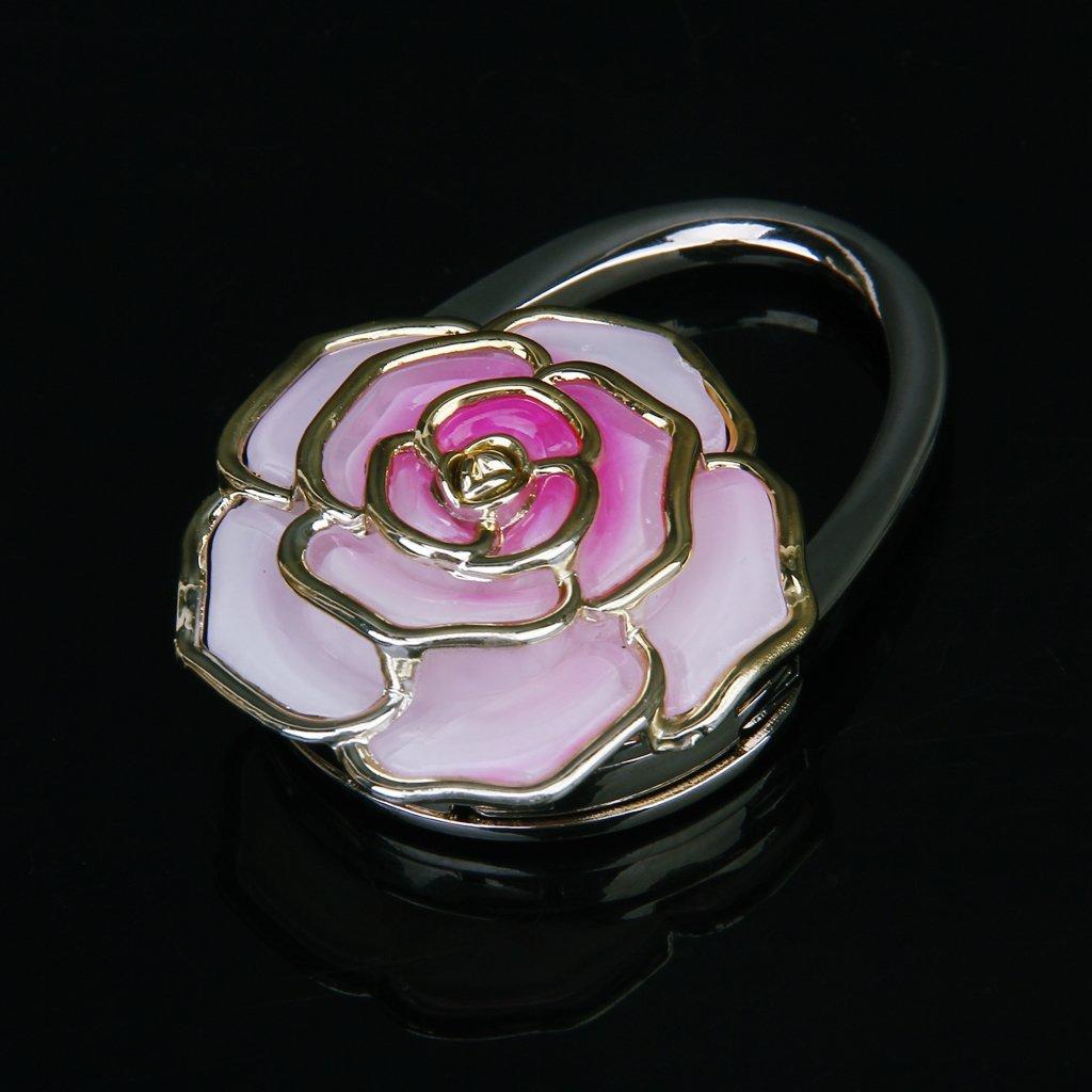 IMC Wholesale Folding Handbag/Purse/Bag Hanger Table Hook Hang Holder Rose Flower Shape Best Selling(China (Mainland))