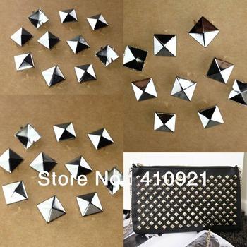 1000pcs 10mm Silver Pyramid Studs Rivet Spike Nickel Punk Bag Belt Leathercraft Bracelets Clothes Free Shipping