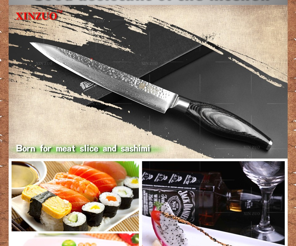 """Buy XINZUO 8"""" inch cleaver knife Japanese Damascus kitchen knife woman chef knife Color wood handle high quality sharp free shipping cheap"""