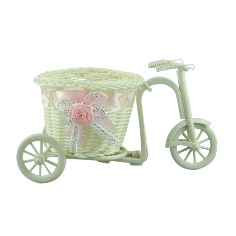 Fantastic 1pcs big wheel round basket rattan floats flower vase flowerpots containers small flower bike/flower pot Pink 100%(China (Mainland))
