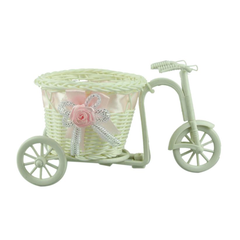 Fantastic 1pcs big wheel round basket rattan floats flower vase flowerpots containers small flower bike/flower pot Pink 100%(China (Mainland))
