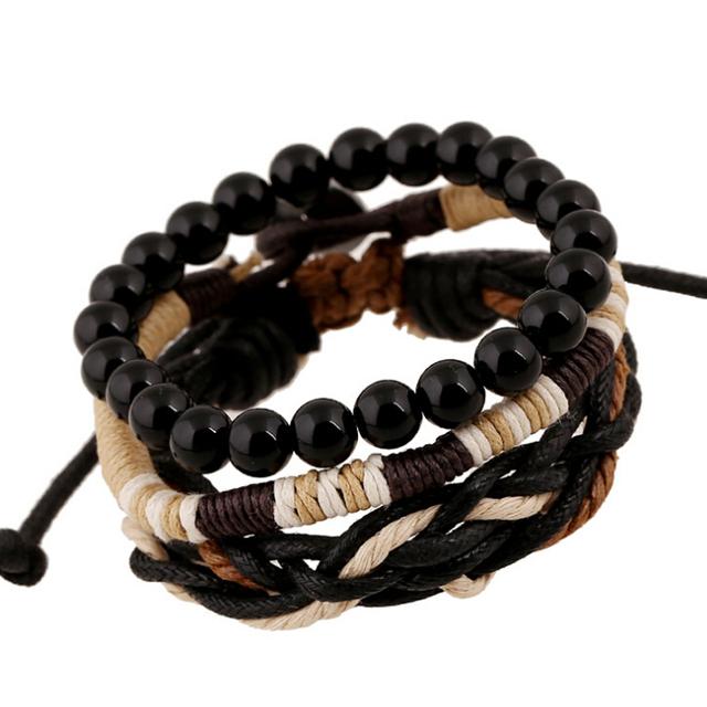 Оригинал 3 в 1 старинные мужской браслеты черные деревянные мяч бусины прядь браслеты ...