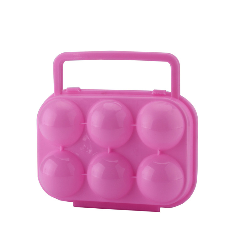 Portable Double Lock Folding Eggs Storage Boxes 6 Eggs Holder Container Plastic 4 Colors Handle Case Outdoor Camping Picnic Use(China (Mainland))