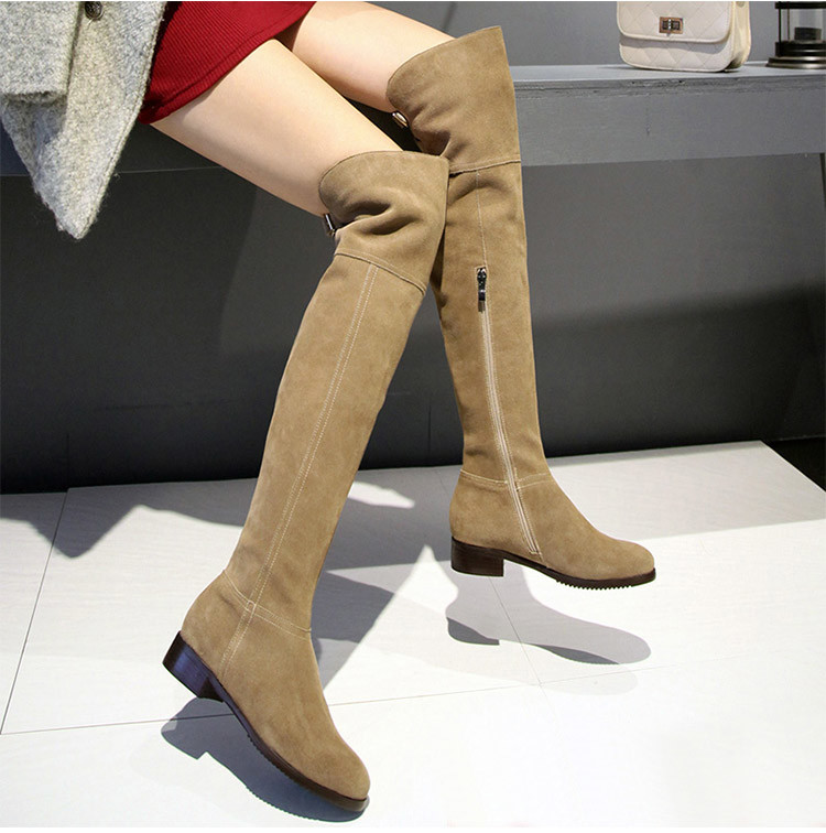 2016 New Winter Was Thin Female Low-heeled Knee Boots High Boots Plus Velvet Matte Leather Flat Boots Female