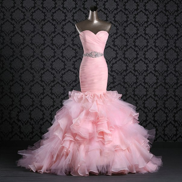 New arrival 2015 sweetheart organza ruffles pink mermaid for Pink ruffle wedding dress