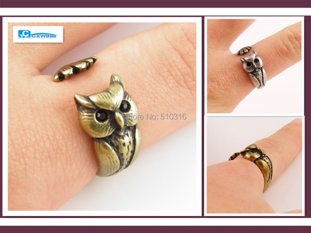 Sale , Discount Engagement Rings Vintage Silver Owl Ring Men Jewelry Austrian Crystal Eyes Brand Open Adjustable Owl Jewellry(China (Mainland))