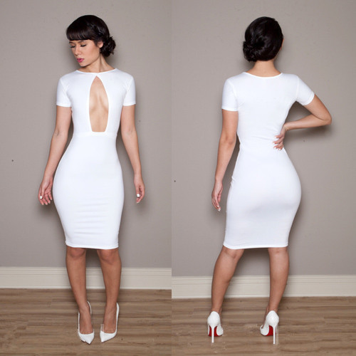 2015 Womens Sexy Clubwear Outfit Crewneck Long Sleeve Slim Bandage Bodycon Dress - Allen cara store