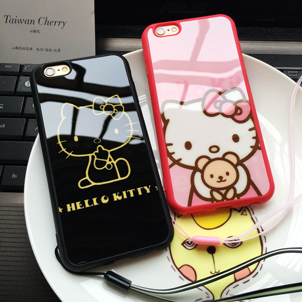 Fashion Hello Kitty Phone Case For Iphone 5 5s 6 6s 6/6s Plus Case Mirror Back Cover High Quality Phone Case Protector Cover(China (Mainland))