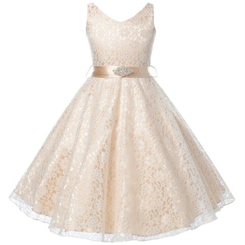 Dress Girls Party Wear Dress Kids 2016 Flower Lace Children Girl Elegant Ceremonies Wedding Birthday Dresses Teenager Prom Gowns(China (Mainland))