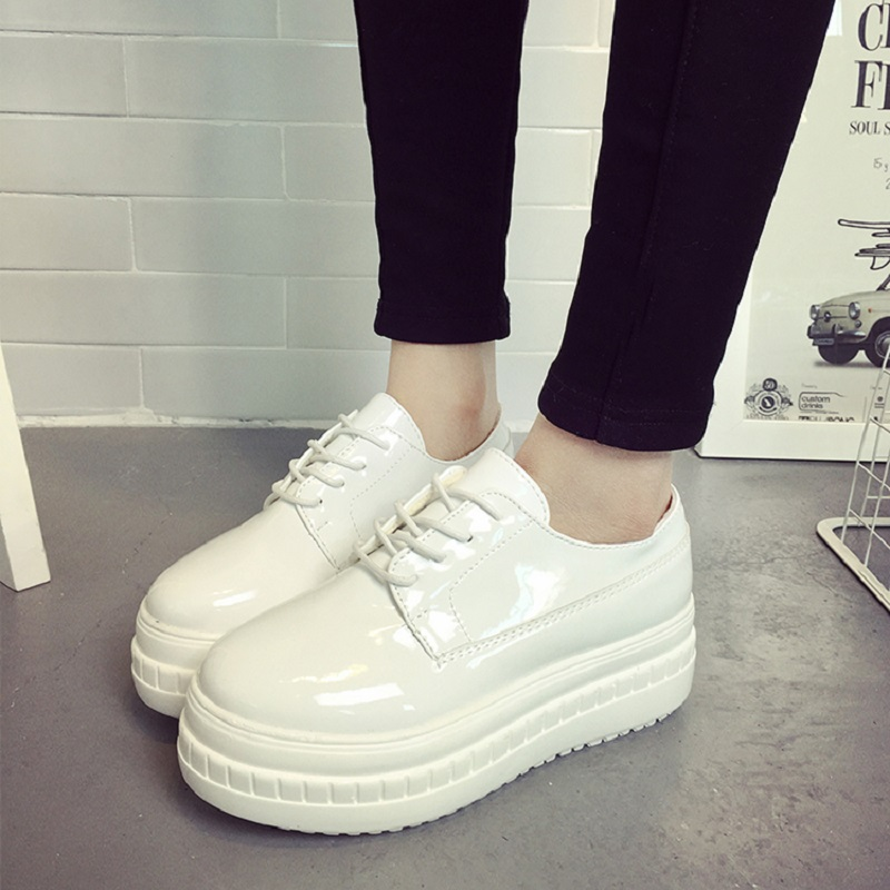 New Arrival Harajuku Women Casual Shoes Spring Casual Leather Shoes England Style Flat Platform Shoes Breathable Flats G85 35(China (Mainland))
