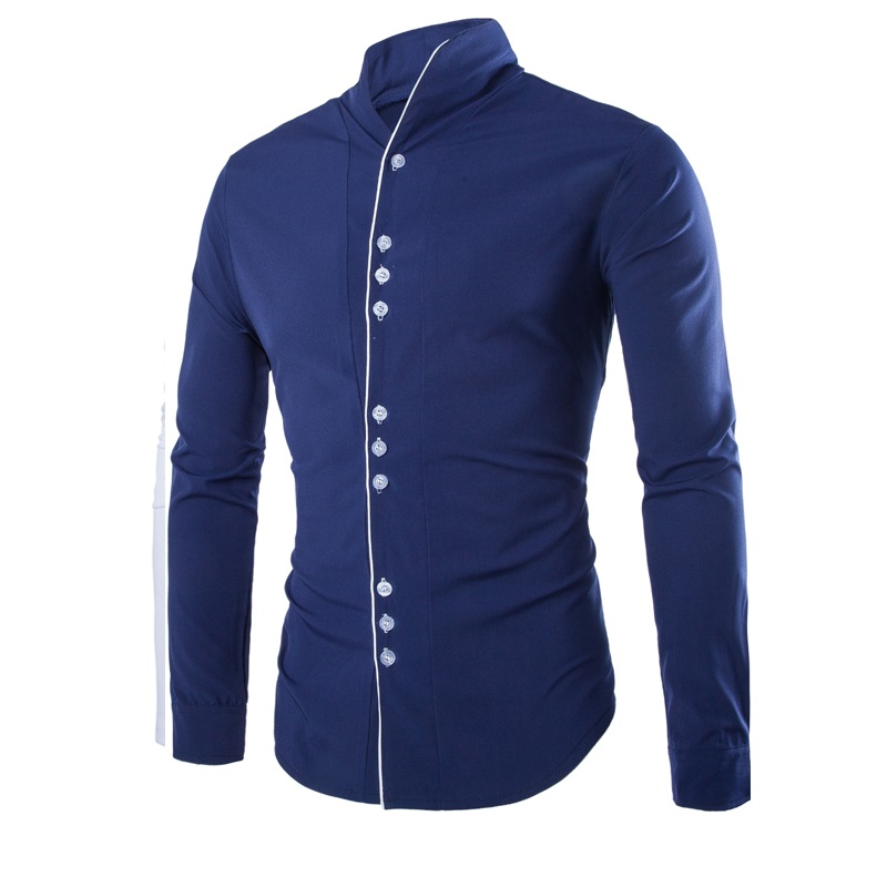 Fashion stand collar slim fit casual men long sleeve shirt for Cheap slim fit shirts