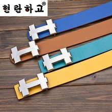 2015 men's brand selling high-end fashion ladies PU leather belt men belt buckle smooth luxury h letters free shipping(China (Mainland))