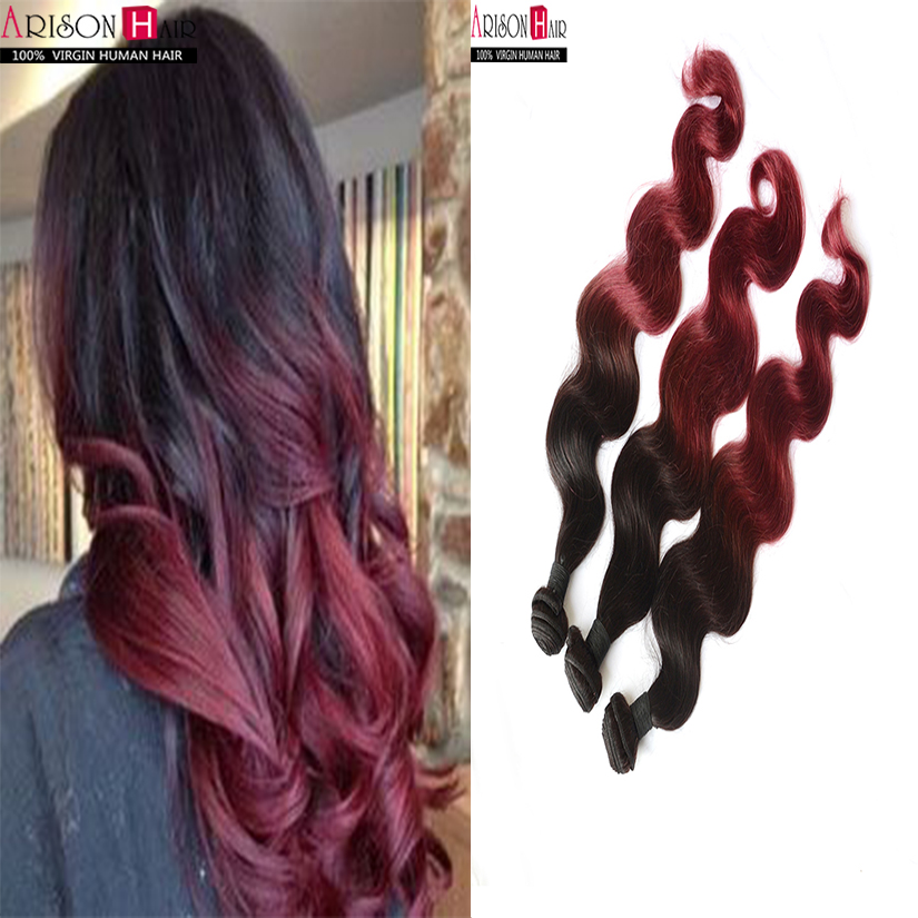 Brazilian hair 1b/99j Brazilian Virgin Hair Ombre Brazilian Hair Weave Bundles Red Brazilian Ombre Hair Extensions body wave