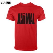 Trends in 2016 fitness cotton brand clothes for men Animal print tracksuit t shirt muscle shirt bodybuilding Tee large XXL(China (Mainland))