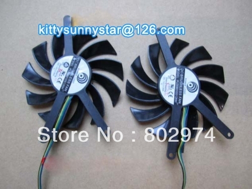 Power Logic PLD08010S12HH 12V 0.35A 4Wire 75mm Graphics Video Card, VGA Fan Replacement GTX460 2WIN GTX 560 TI Cooling Fan