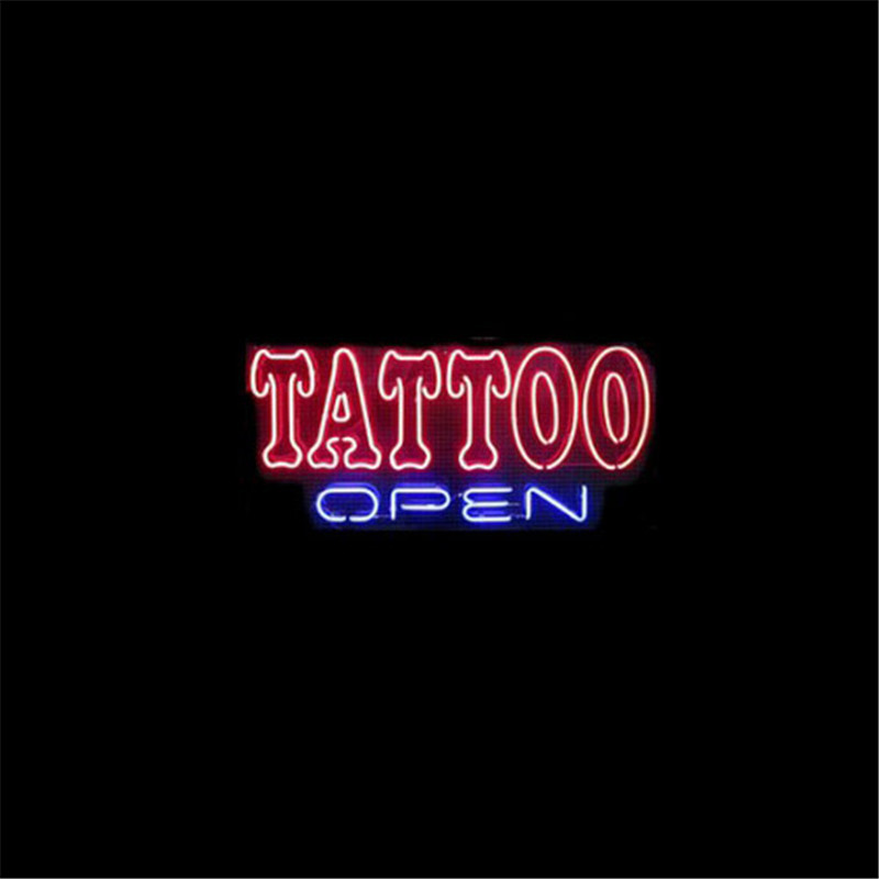 "17*14"" TATTOO OPEN NEON SIGNS REAL GLASS BEER BAR PUB LIGHT Billiards store display Restaurant Shop Dealers Garage Billiards(China (Mainland))"