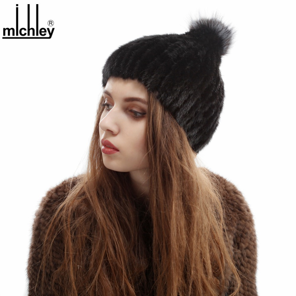 MICHLEY New Genuine Rabbit Fur Hat For Women 2015 Winter Season QFHM0006(China (Mainland))