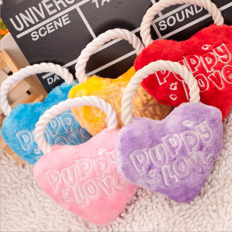 Toys For Love : Fashion puppy love heart shape plush dog toys pet classic
