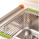 Kitchen Silicone +Stainless Steel Fold leachate holder Filter Strips Shelf 10pcs/set free shipping(China (Mainland))