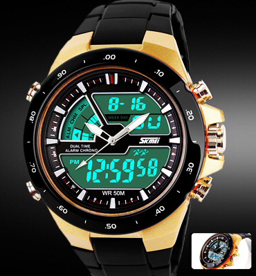 Readeel Men Sports Watches Waterproof Fashion Casual Quartz Watch Digital & Analog Military Multifunctional Men's Sports Watches(China (Mainland))