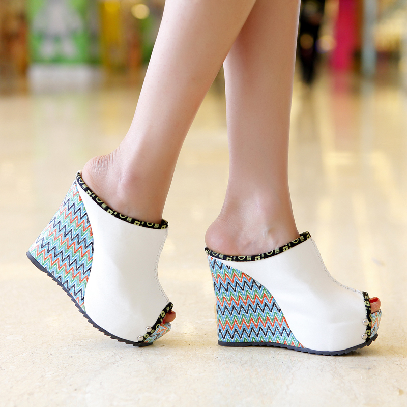 2016 new arrive high quality summer wedges sandals for women peep toe high heels slippers Bohemia casual shoes woman(China (Mainland))