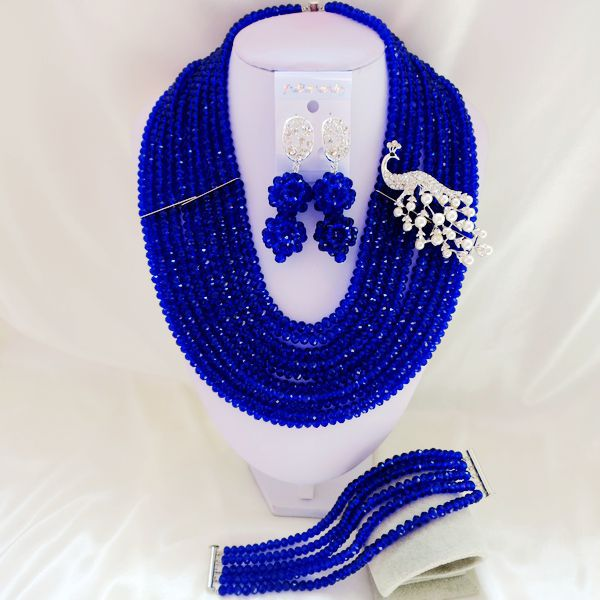 2015 Fashion african blue crystal beads necklace set nigerian wedding african beads jewelry set Free shipping P-3312<br><br>Aliexpress