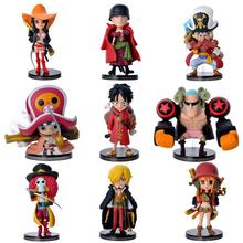 8cm One Piece Luffy Zero Nami Usopp Tony Chopper Sanji Nico Franky Brook 9pcs/set PVC Action Figure Model Toy Gift(China (Mainland))
