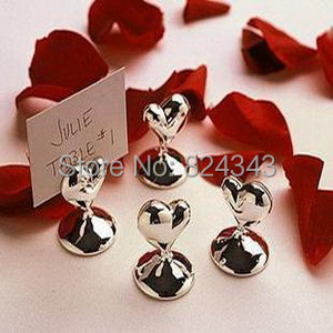 Small s+Heart Design Chrome Place Card Holders Wedding&Bridal Shower Favors+2+ - Romantic Wedding Gift Shop store