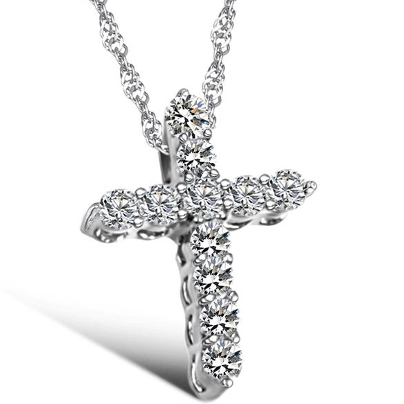 Glamorous Anti-Allergic Fashion Silver Plated Cross Pendant Necklace Paved with Cubic Zirconia For Women Birthday Gifts(China (Mainland))