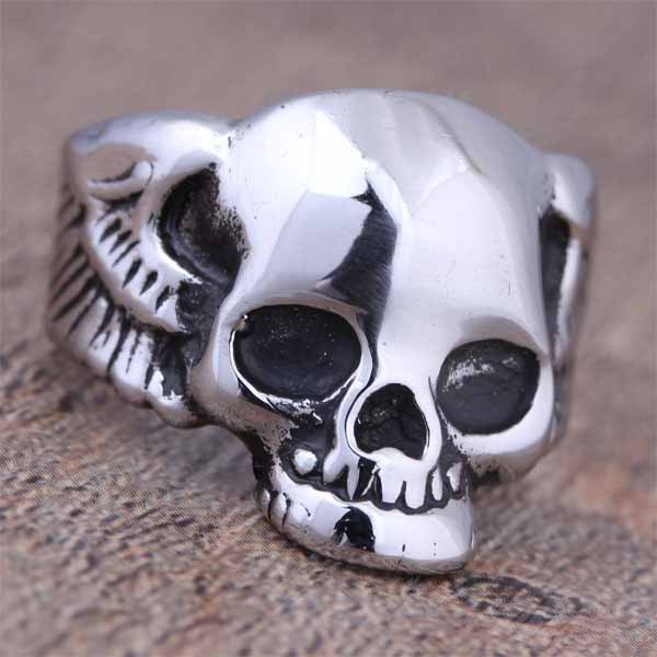 New Arrival Stainless Steel Fashion Punk Style Frog Skull Head Wings Biker Ring Gothic Skeleton Jewelry Vintage Gift 2016 (A535)(China (Mainland))
