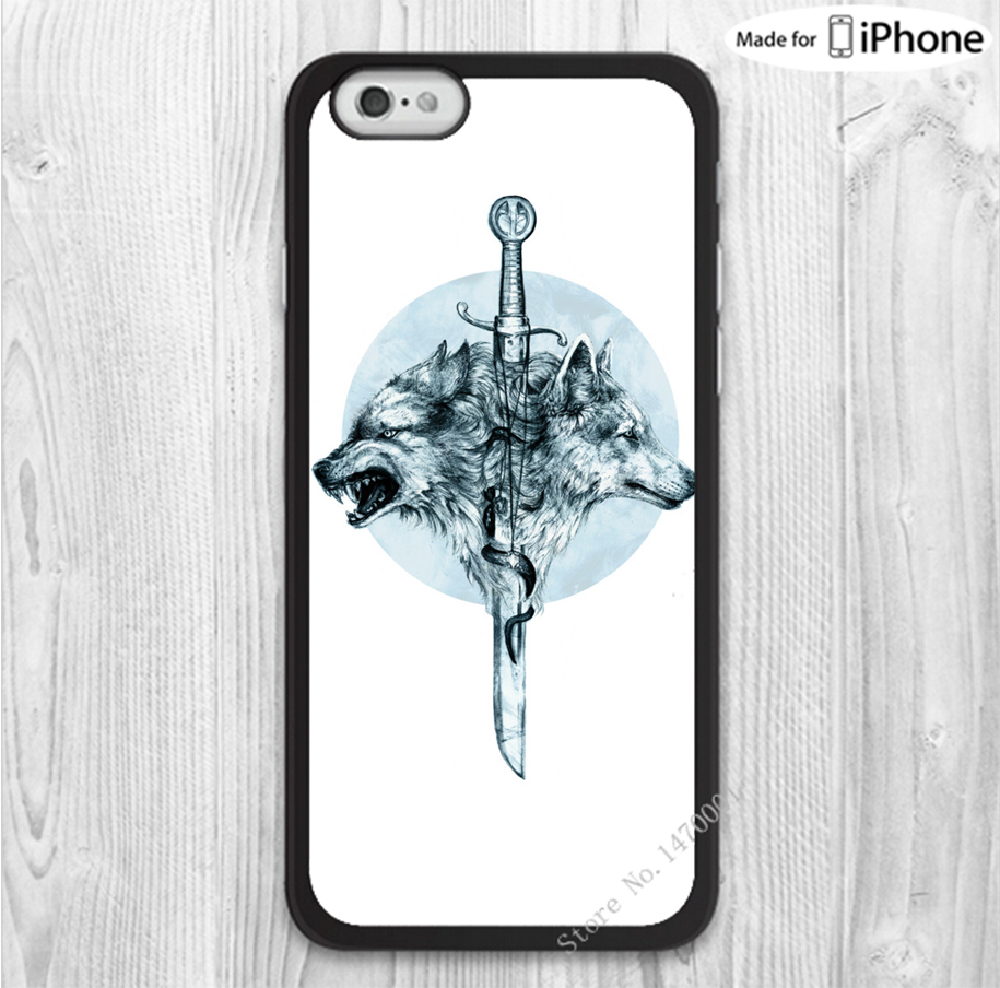 Free Shipping Game Of Thrones Wolves Sword Snap mobile phone cases cover for iphone 6 6 plus 4 4s 5 5s 5c with gift(China (Mainland))